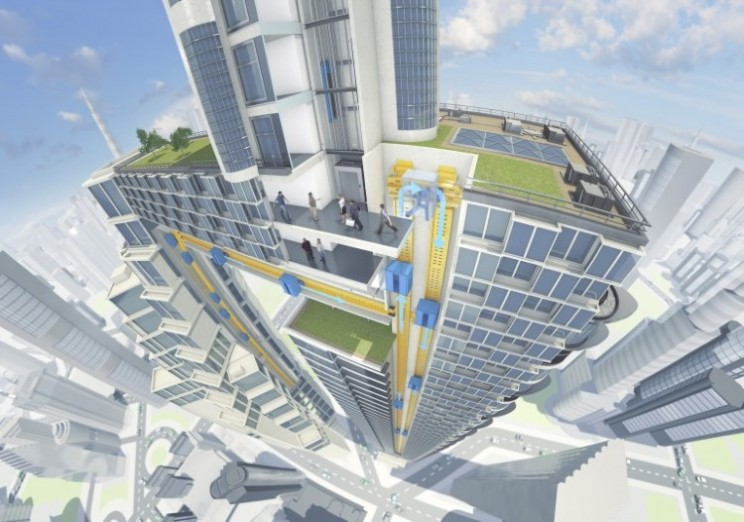 Multi-directional maglev elevators make getting around high rises easier