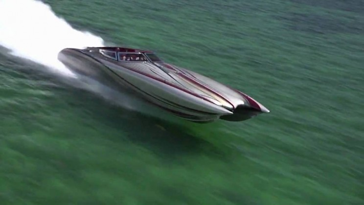 Meet the 50' Catamaran Powered by 3000 HP Lycoming T-53 Turbines