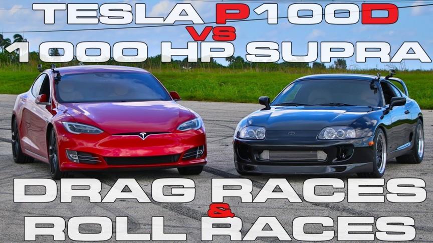 Tesla Model S P100D Ludicrous vs 1,000 HP Toyota Supra Turbo in the  Ultimate Drag Race