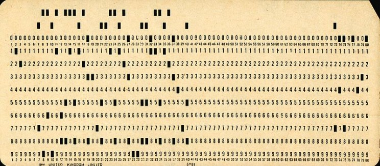 data storage punch cards