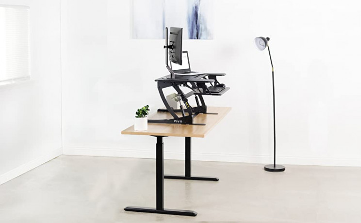 VIVO Black Height Adjustable 36 inch Stand up Desk Converter