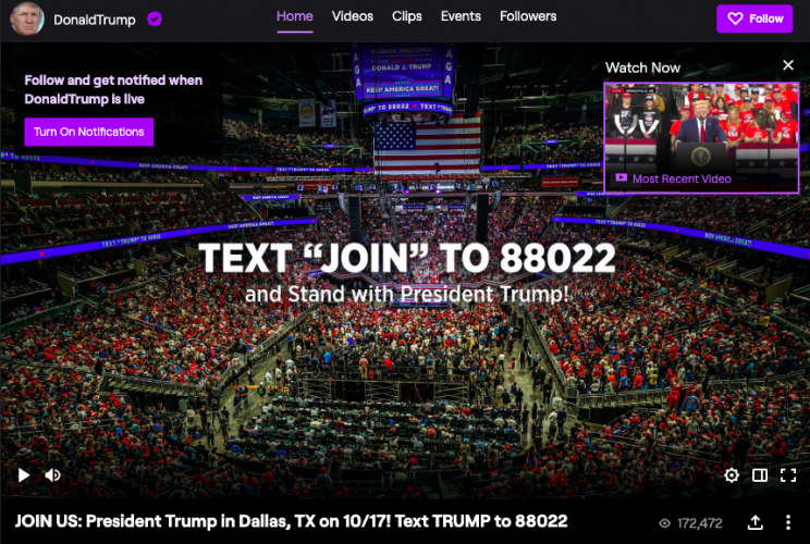 Donald Trump Joins Twitch, an Amazon-Owned Video Platform