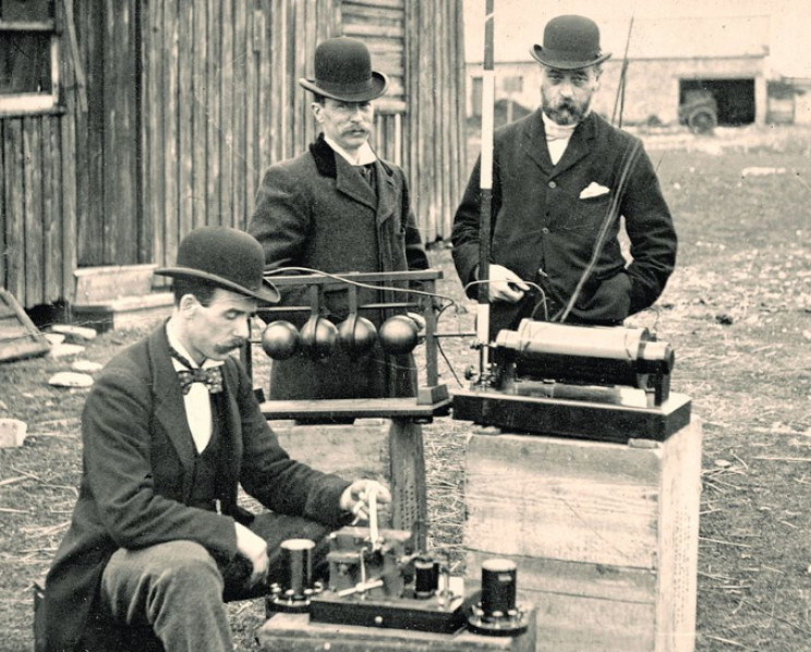 British Post Office engineers inspect Marconi's radio equipment in 1897