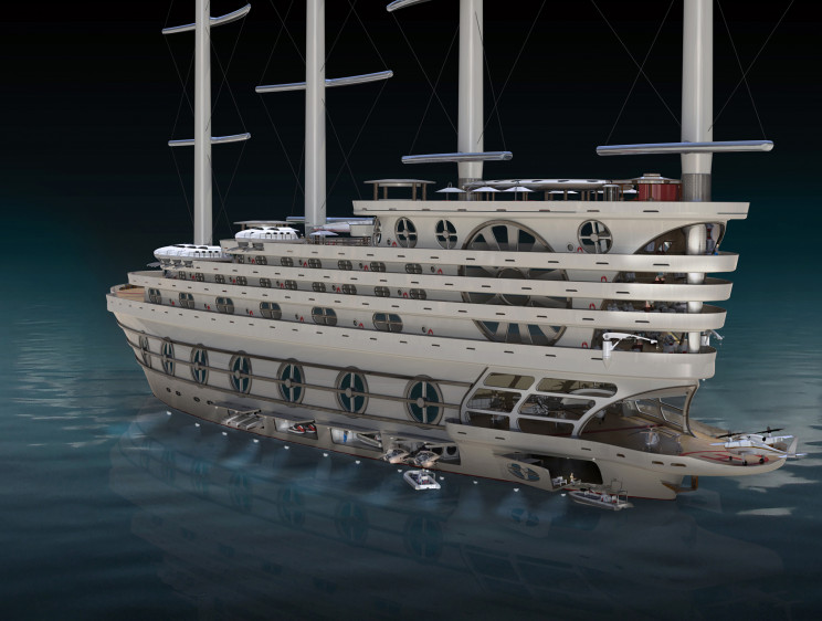 Futuristic Sailing Yacht Can Host 200 Guests and Countless Amenities