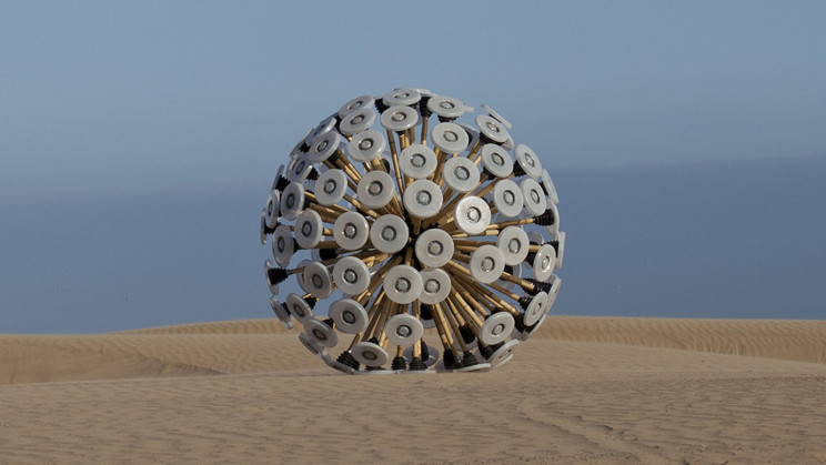 Wind-Powered Mine Kafon Ball Detonates Landmines With Bamboo Legs