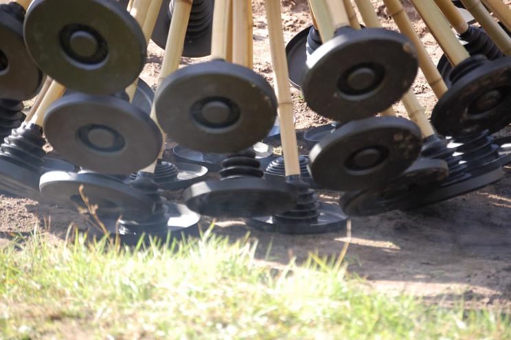 Wind-Powered Mine Kafon Ball Detonates Landmines With Bamboo Legs