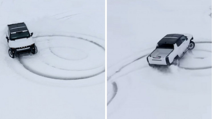 GMC EV Hummer Carves Perfect Donuts In the Snow