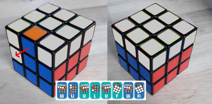 solve rubiks cube top middle to right