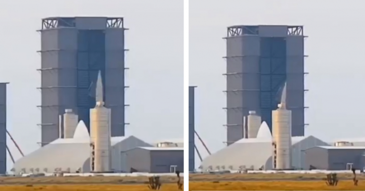 SpaceX's Latest Starship Prototype Spontaneously Falls Over on Assembly Stand