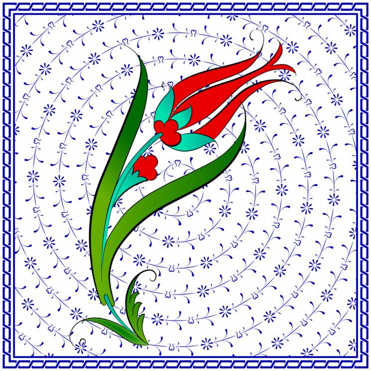 Turkish tile with tulip motif