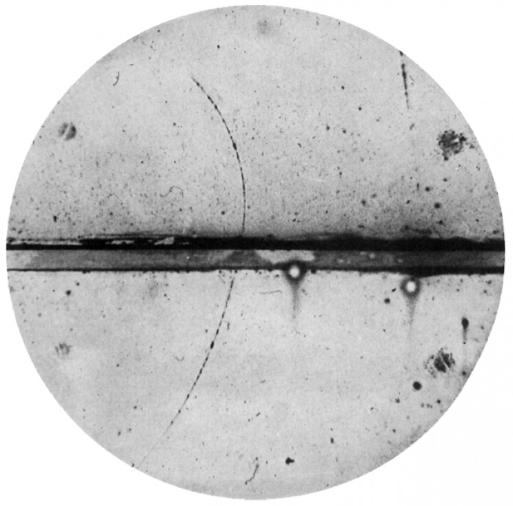 Anderson's photo of a positron track