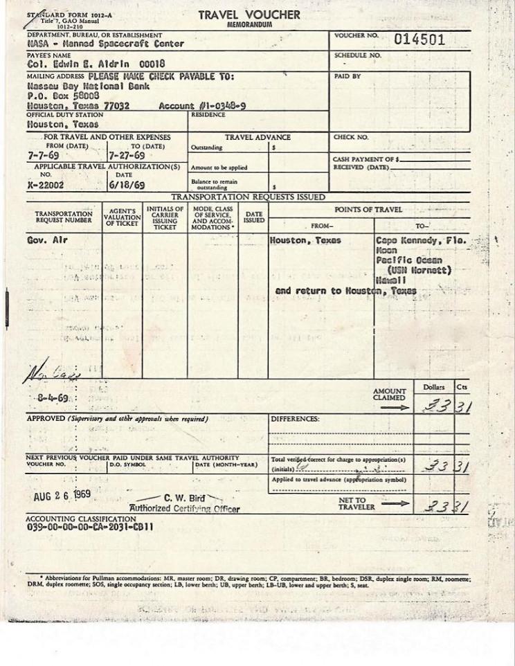 apollo 11 customs forms