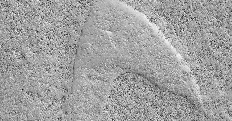 Orbiter Snaps Photo of Star Trek Logo Shaped Dune on Mars