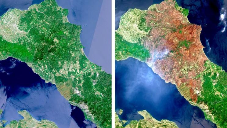 Satellite Images Showcase Greece's Devastation From Wildfires