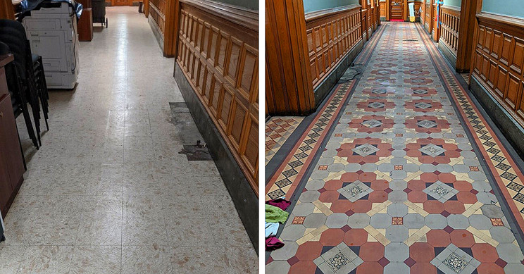 City Hall Renovation Reveals 20th Century Tiled Floor, Leads to More Discoveries