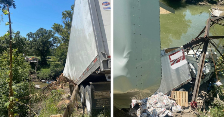 Bridge Collapses After Overweight Semi-Truck Tries to Cross It