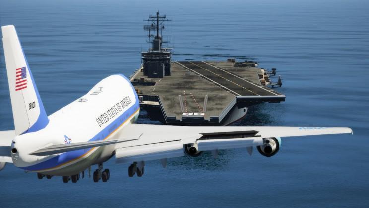 747 aircraft carrier landing