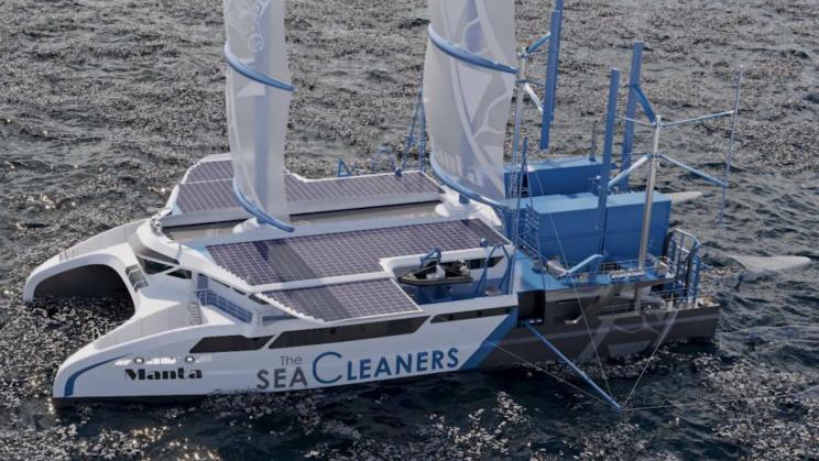 56-Meter 'Manta' Yacht Feeds on Plastic Waste to Clean Oceans