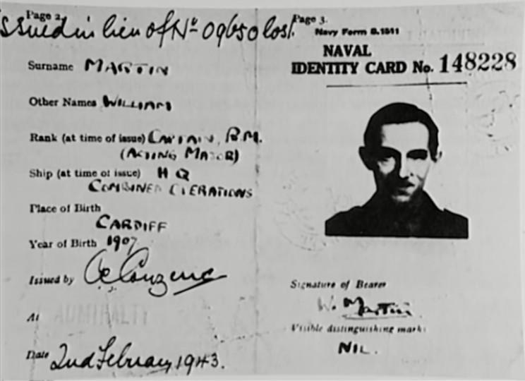Major William Martin identity card