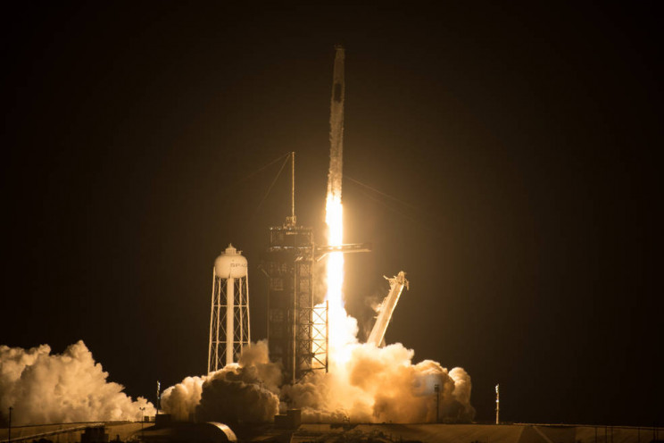 SpaceX Falcon 9 rocket carrying Crew-2 launches