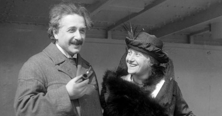 Albert Einstein and His Second Wife, Elsa, Traveling In 1921