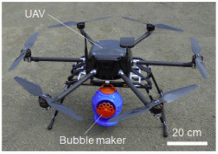 Drones Equipped with Bubble Guns Pollinate Flowers as Bees Decline