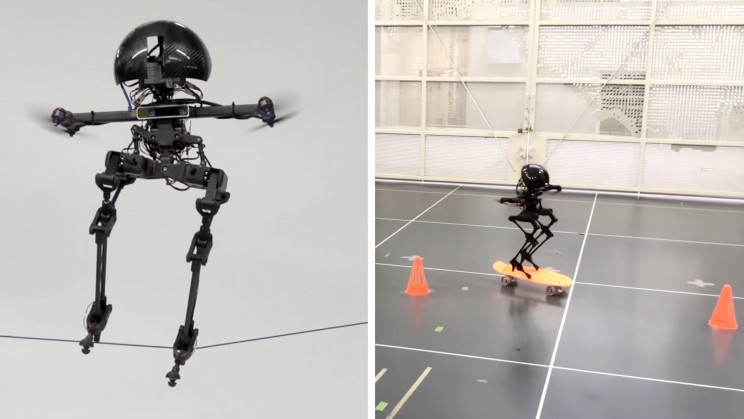 Watch a Bipedal Flying Robot Take On a Tightrope and a Skateboard