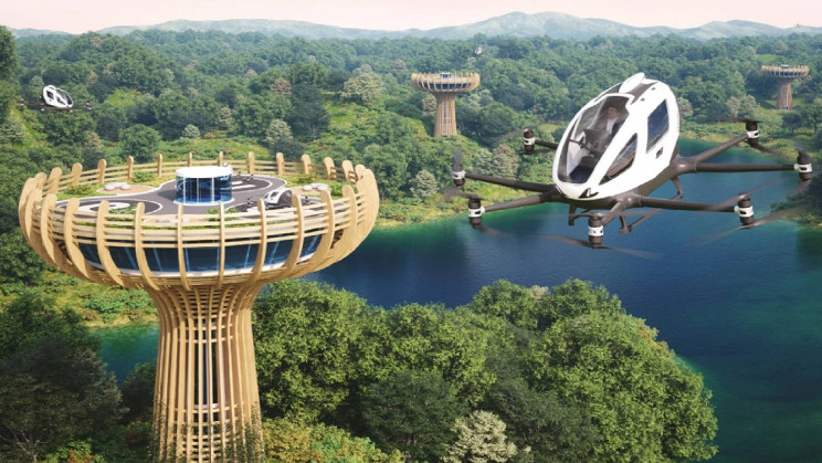 "Tree-Inspired ""Vertiport"" Will Recharge Its Air Taxis With Clean Energy"