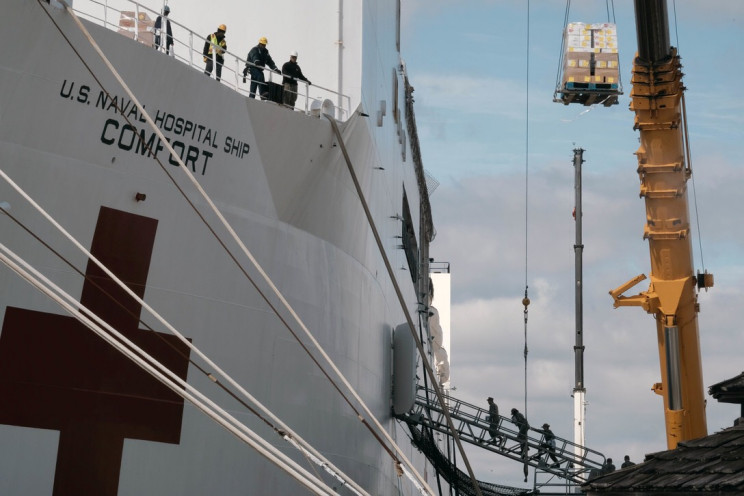USNS Comfort Loading for NYC Mission