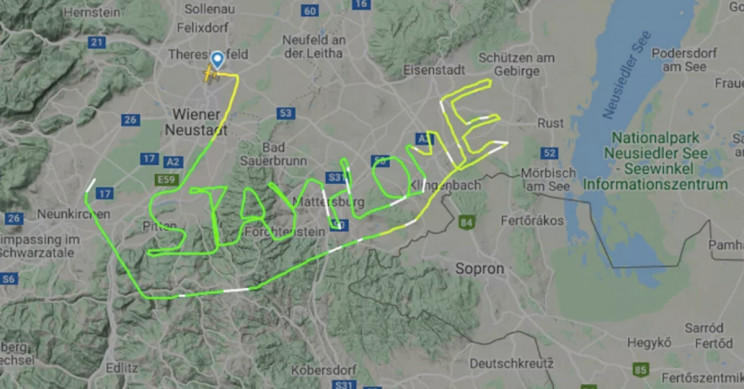 "Pilot Writes Message in the Sky: ""Stay Home"""