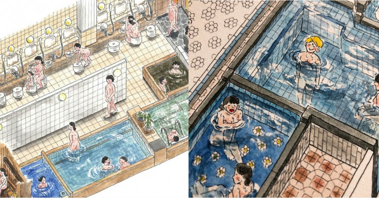 Endearing Cartoon Drawings of Japanese Bathhouses Offer a Cultural Glimpse