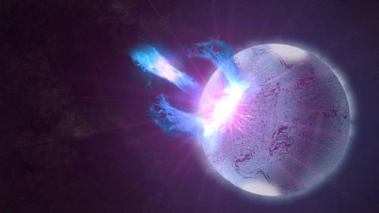 Artist rendering of an explosion on a neutron star