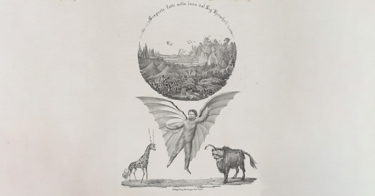 An Italian Lithograph Inspired By The Great Moon Hoax
