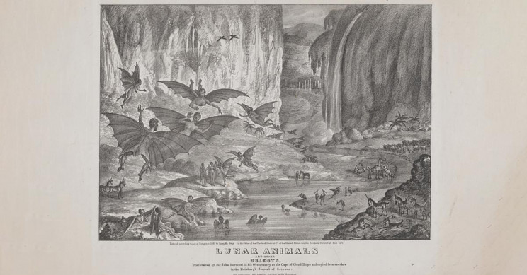 A Lithograph Of Lunar Animals Published By The Sun Newspaper In 1835