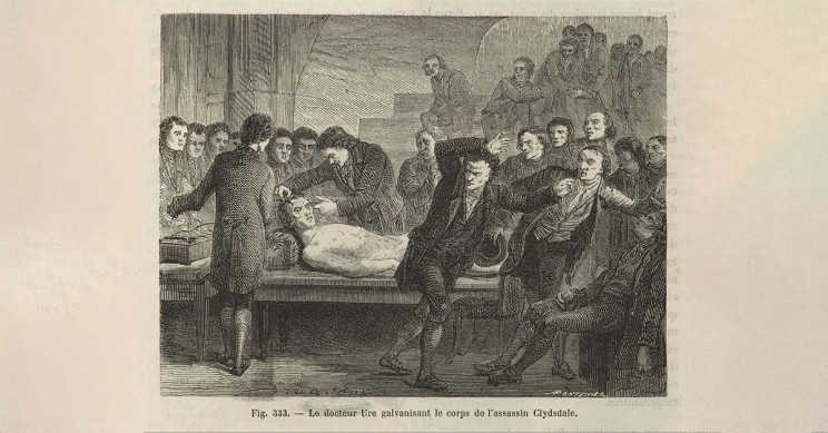 Doctor Ure 'galvanizing' the body of an assassin named Clydesdale in an attempt to reanimate the corpse.