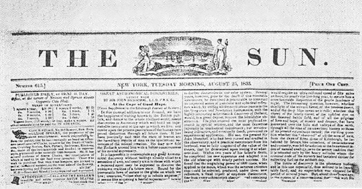 The Sun Newspaper From August 25 1835
