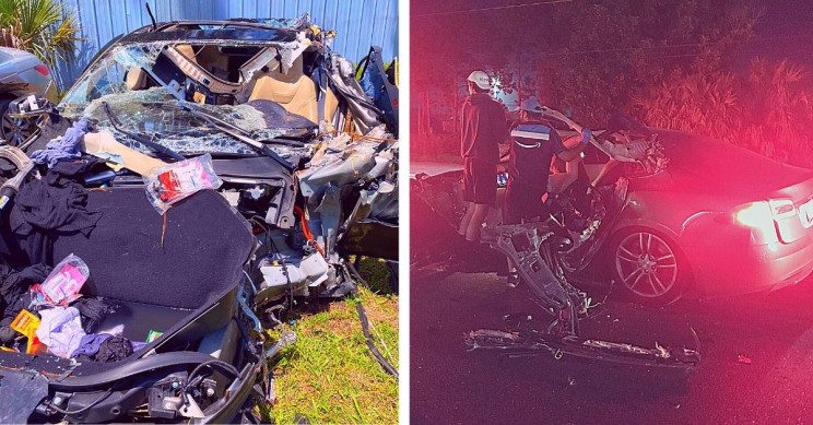 Tesla Model S Ripped Open in Chilling Collision With 18-Wheeler, Passengers Walk Away