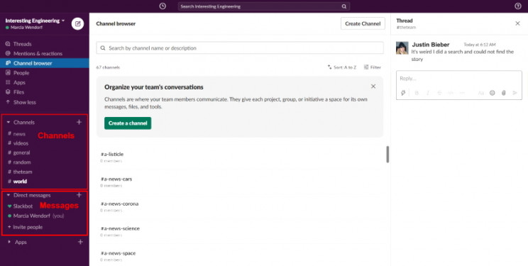 Slack main screen