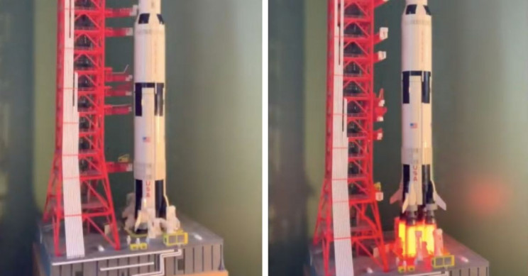Inventor 3D Prints Launch Pad for LEGO's Saturn V Model