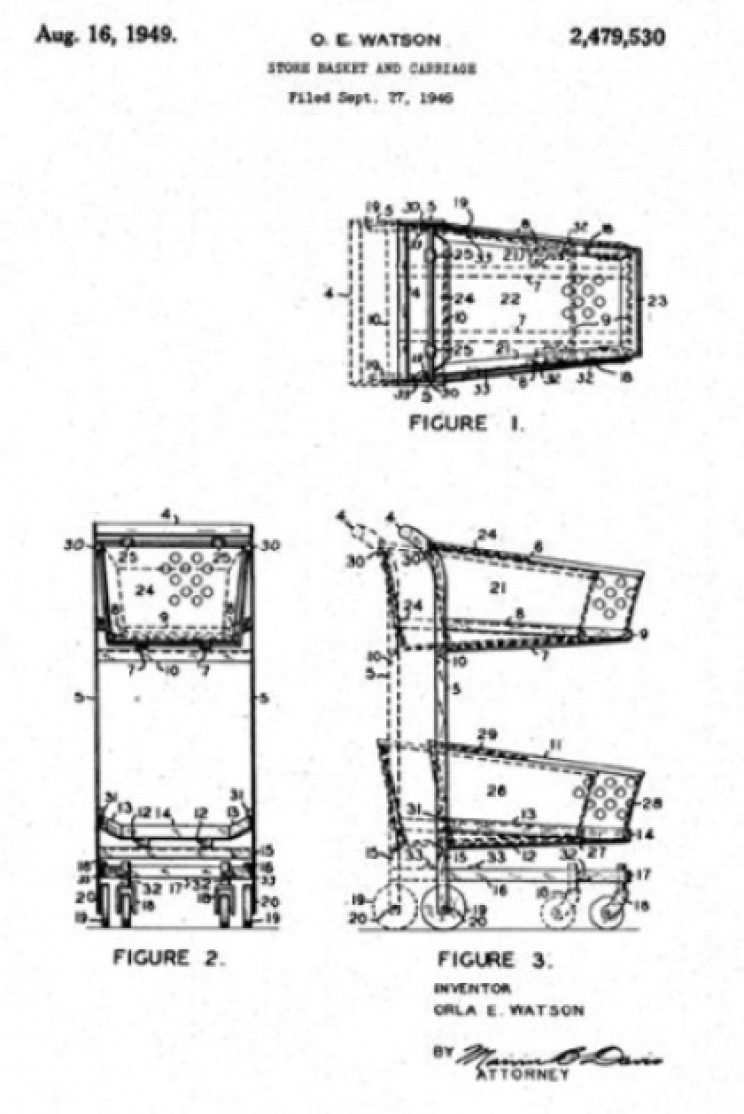 Patent for nesting shopping cart