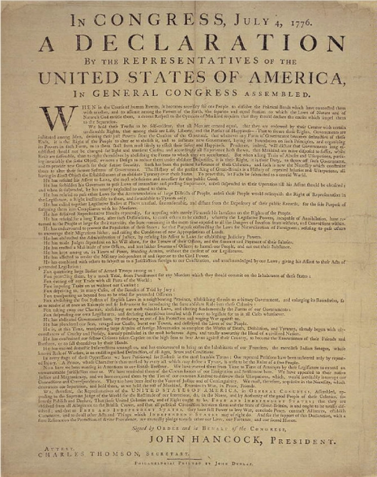 photo relating to Printable Declaration of Independence Text known as The 1776 Printing of the U.S. Declaration of Liberty