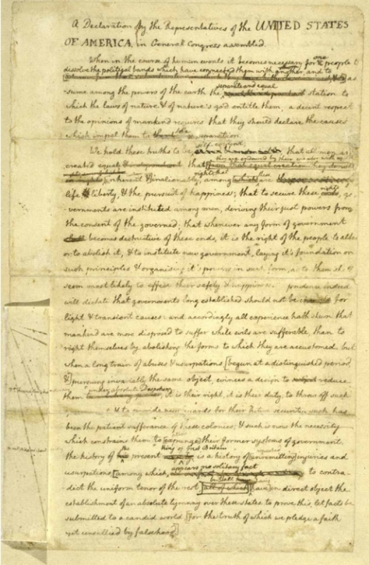 Rough draft of Declaration in Thomas Jefferson's hand