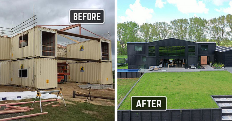 Before and After Images Show House Built Using 12 Shipping Containers
