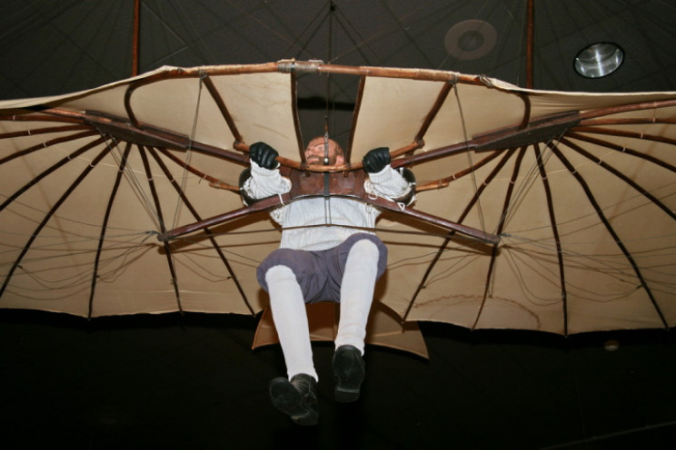 Otto Lilienthal's glider displayed at the National Air and Space Museum