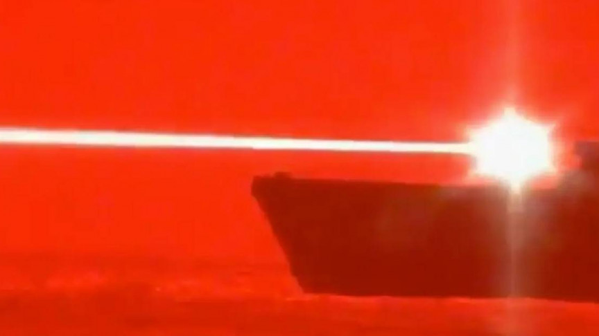 Image of article 'Video Footage of a U.S. Navy Ship Taking Down a Drone With a Laser Weapon'