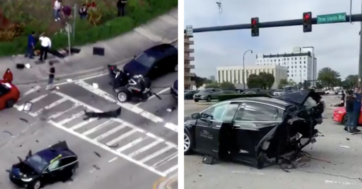 Tesla Model X Cut in Half in Accident with Nissan GT-R While Driver Walks Away Untouched