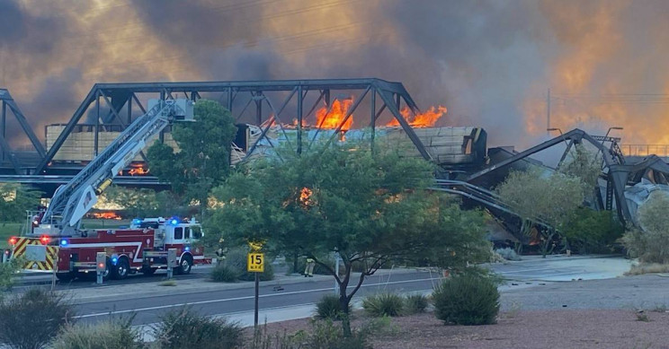 Train Derailment Causes Bridge to Partially Collapse and Sets Fire Near Phoenix