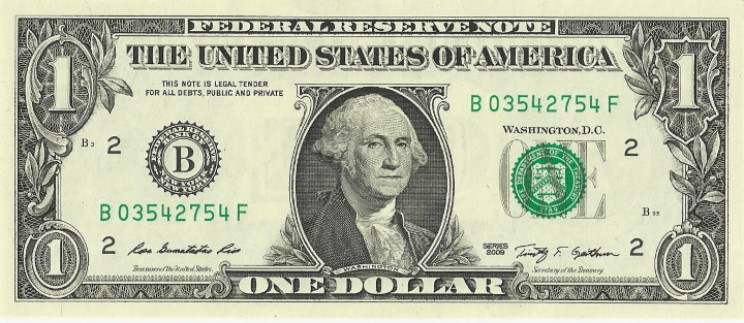 U.S. one dollar bill