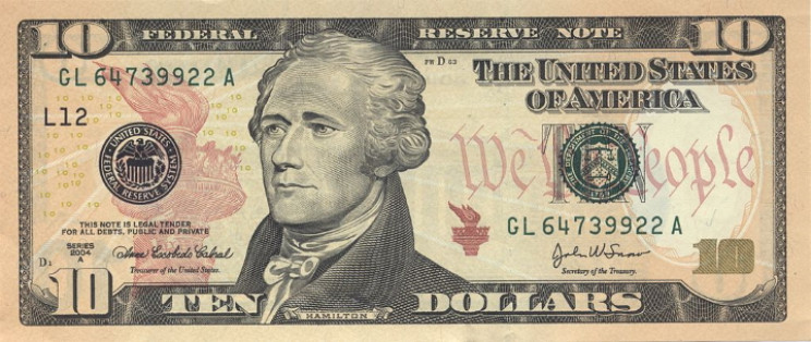 U.S. ten dollar bill