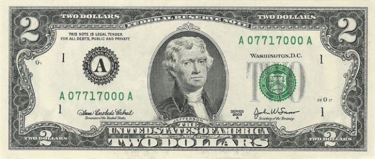 U.S. two dollar bill